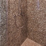 Giallo Napoleon granite slab shower walls
