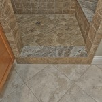 "13"" Amalfi Biege floor tile, Silver Cream granite threshold and Tumbled Emperadera Light shower tile"